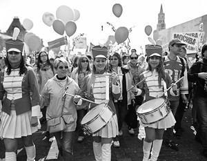 Москва, Красная площадь. Завершилось праздничное первомайское профсоюзное шествие