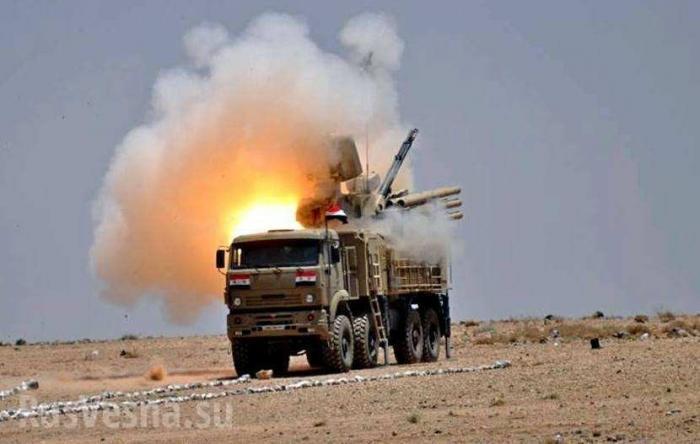 Сирия. Кадры агрессии Израиля: управляемая ракета уничтожила ЗРПК Панцирь-С1