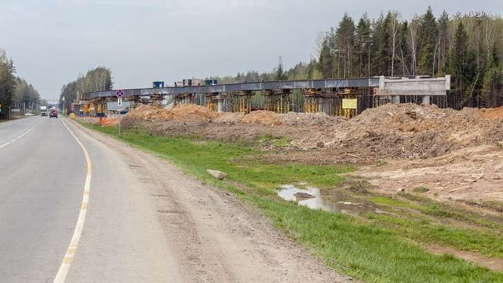 Москва. Строительство ЦКАД: третий пусковой комплекс, май 2018
