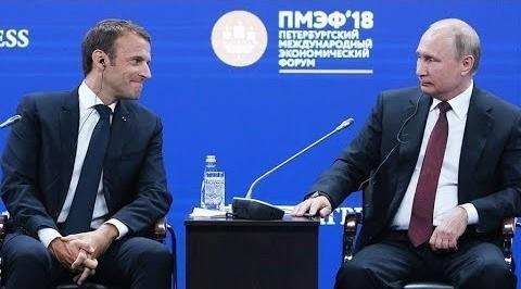 Владимир Путин и Эммануэль Макрон выступили на ПМЭФ-2018