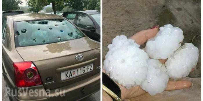 На Словению «напал» град: разбиты крыши домов и автомобили, уничтожены сельхозпосевы
