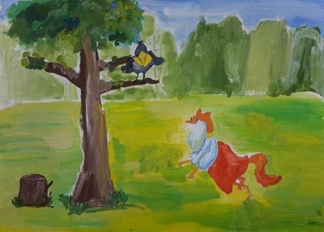 Ворона и лисица. Иллюстрация к одноимённой басне И. А. Крылова