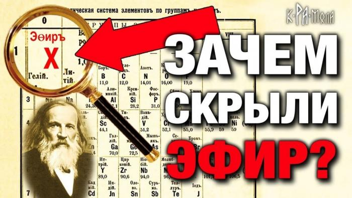 Фальсификация периодической таблицы Менделеева. Почему из таблицы изъяли элемент эфир