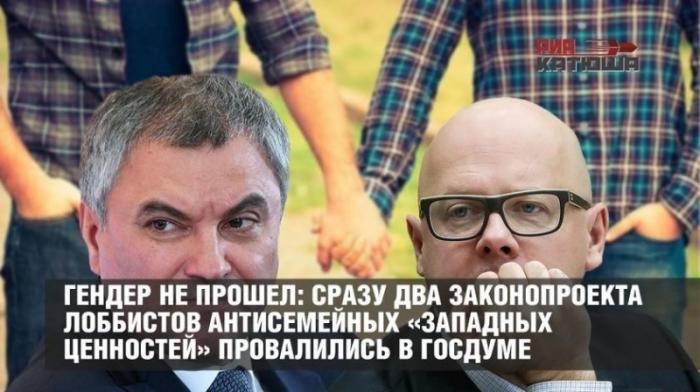 Гендер в Госдуме не прошёл: сразу два антисемейных законопроекта провалились