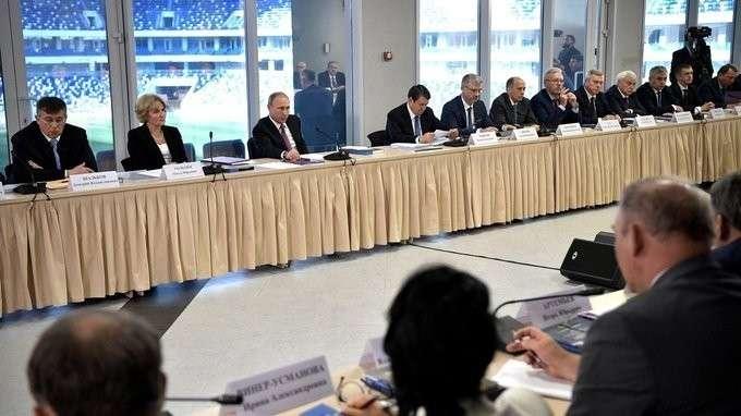 Совместное заседание Совета поразвитию физической культуры испорта иНаблюдательного совета Оргкомитета «Россия-2018»