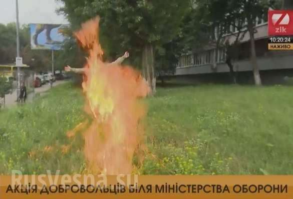 «Атошник» устроил самосожжение подстенами Минобороны Украины (ФОТО, ВИДЕО 18+) | Русская весна