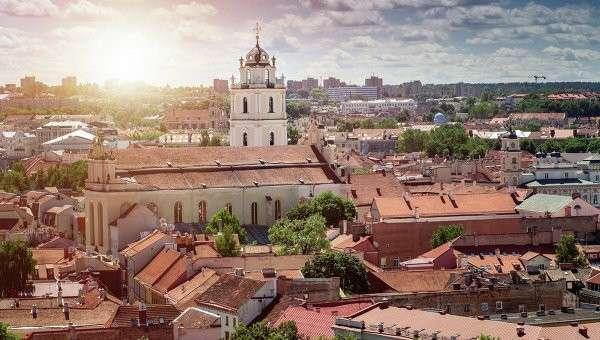 Вид на Вильнюс, Литва, Архивное фото