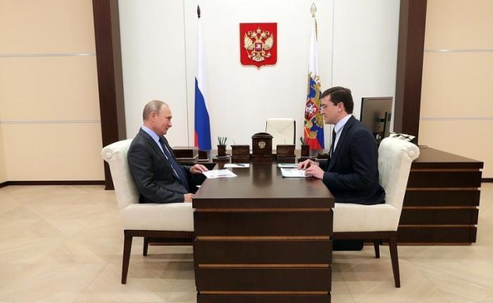 Владимир Путин провёл рабочую встречу сврио главы Нижегородской области Глебом Никитиным