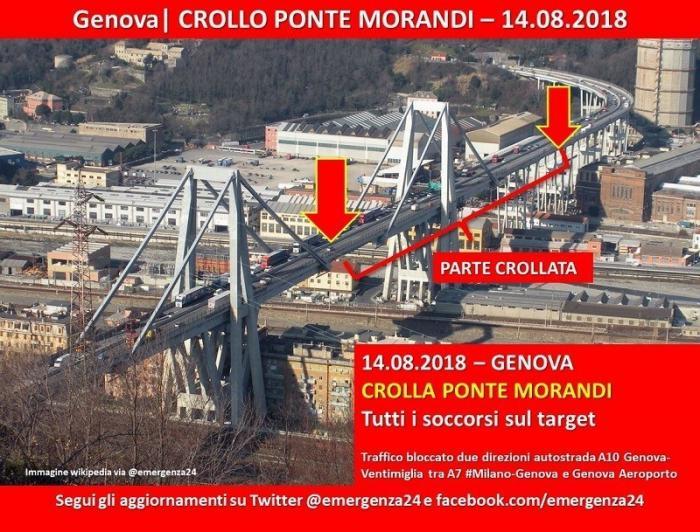 Обрушенный мост в Генуе облетел и заснял беспилотник