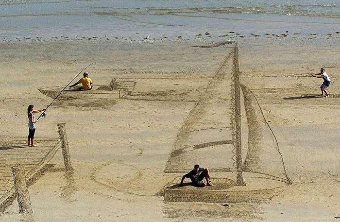 3D-рисунки на песке.