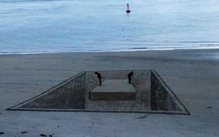 3D-рисунок, сделанный на пляже в Новой Зеландии.