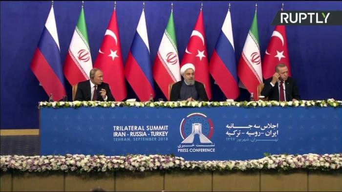 Путин, Рухани и Эрдоган подводят итоги переговоров в Тегеране. Прямая трансляция