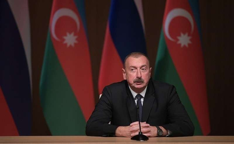Президент Азербайджана Ильхам Алиев наДевятом российско-азербайджанском межрегиональном форуме.