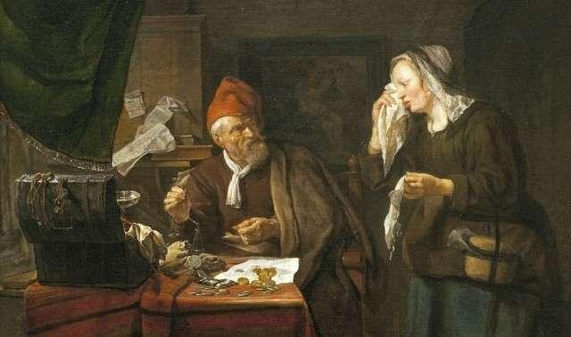 Габриэль Метсю. Ростовщик и плачущая женщина. 1654