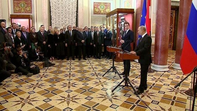 Владимир Путин и Федеральный канцлер Австрии открыли выставку «Имперские столицы»