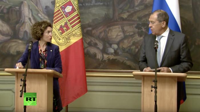 Сергей Лавров и глава МИД Андорры Марии Убак проводят пресс-конференцию