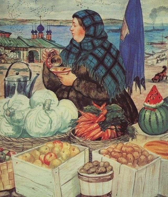 Борис Кустодиев. Торговка овощами. 1920