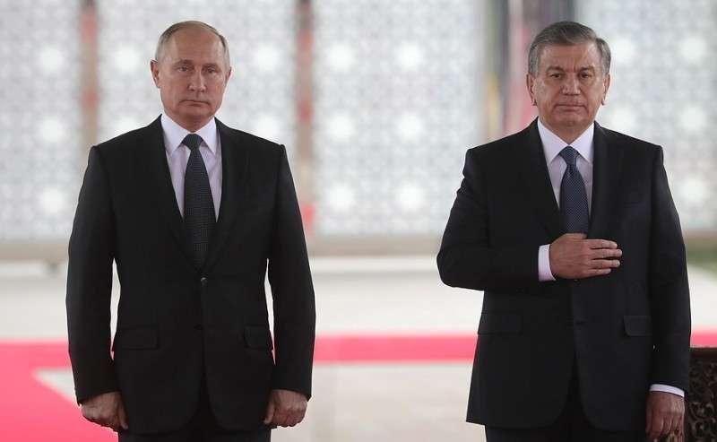 Официальная церемония встречи. СПрезидентом Узбекистана Шавкатом Мирзиёевым.