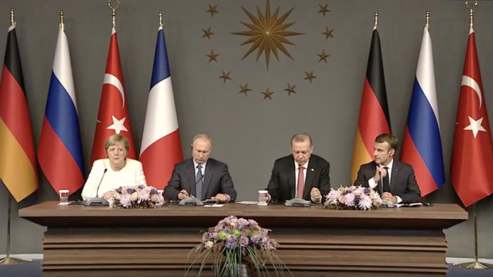 Путин, Эрдоган, Меркель и Макрон провели пресс-конференцию по итогам встречи по Сирии