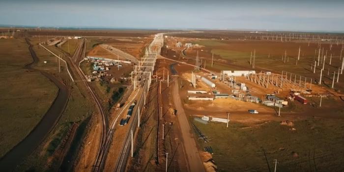 Строительство железнодорожного подхода кКрымскому мосту наТаманском полуострове