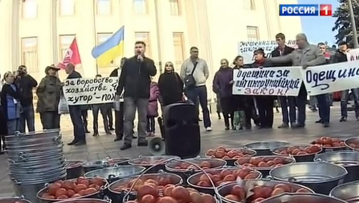 Депутаты Верховной Рады приняли антикоррупционный закон под прицелом помидоров