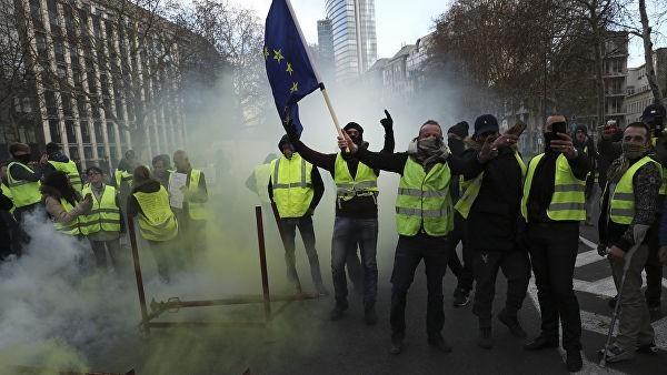 Протестующих на акции «желтых жилетов» поместили в конюшню как скот