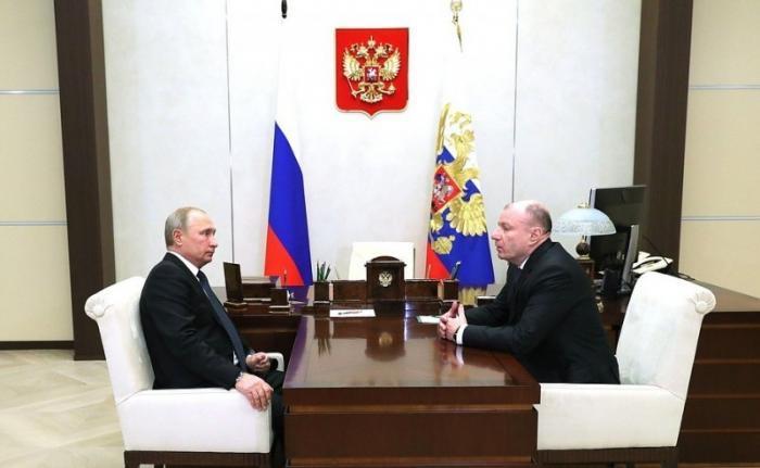 Владимир Путин провёл рабочую встречу сглавой компании «Норникель» Владимиром Потаниным