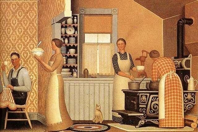 Грант Вуд. Ужин для молотильщиков (фрагмент). 1934