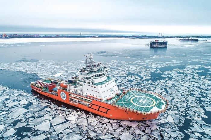 Новейший российский ледокол «Андрей Вилькицкий» продемонстрировал свою уникальность