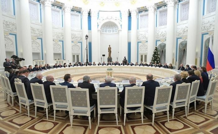 Встреча Владимира Путина сруководством Совета Федерации иГосударственной Думы