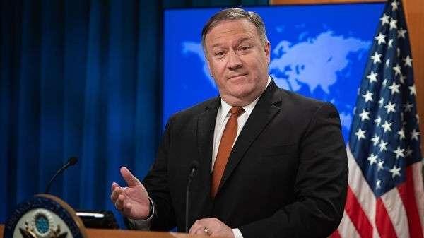 Госсекретарь США Майк Помпео во время пресс-конференции в Вашингтоне