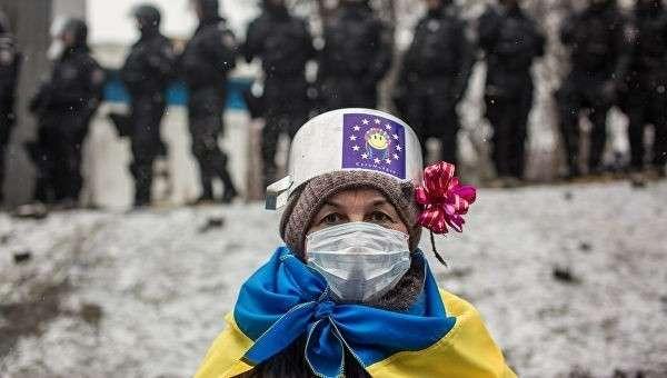 Участница протестных митингов за евроинтеграцию Украины в Киеве