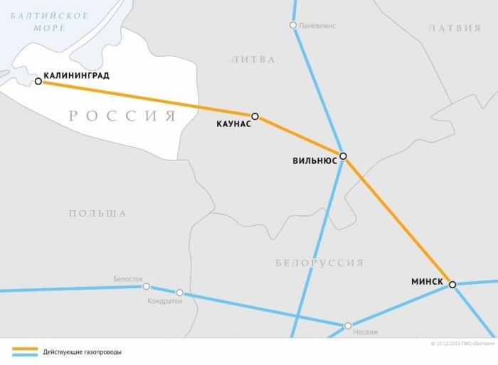 Калининград больше независит оттранзита газа через Литву
