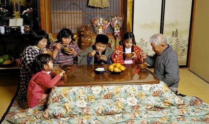 Япония – это высокие технологии? Нет – это толпы нищих японцев, греющихся под столом!
