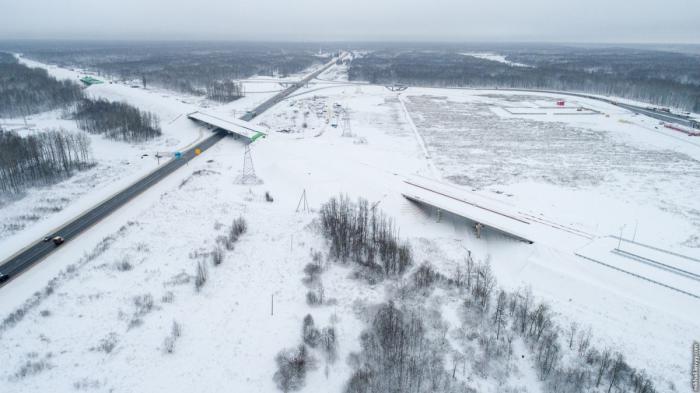 Строительство автомобильной дороги М11 Москва – Санкт-Петербург: Мясной Бор, развязка 547 км
