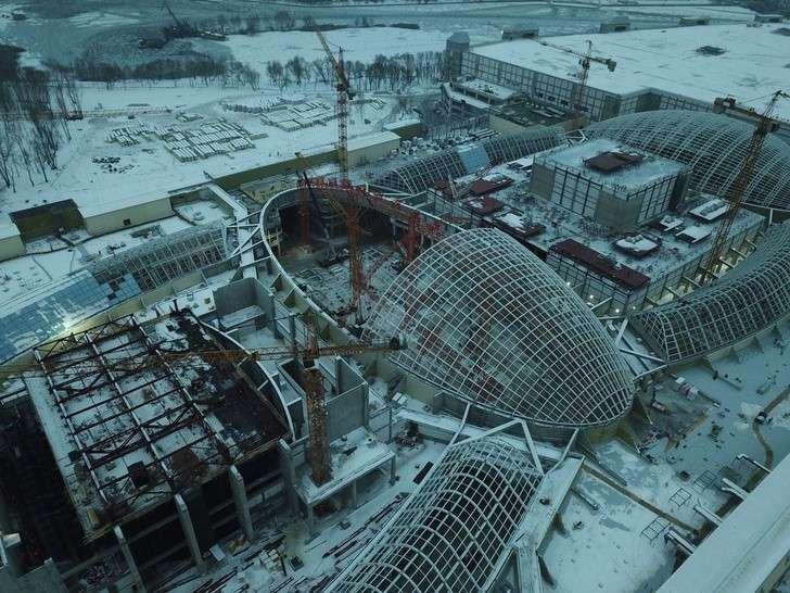 Нагатинская пойма.Декабрь 2018.Ход строительства парка развлечений вМоскве