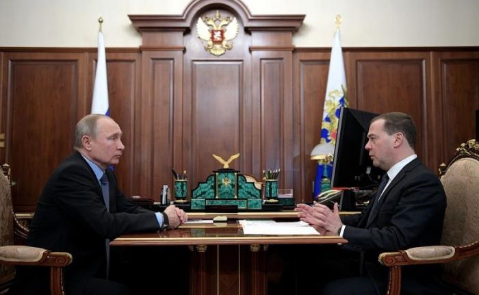 Встреча Владимира Путина спремьер-министром Дмитрием Медведевым