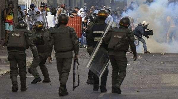 Во время акции в Каракасе