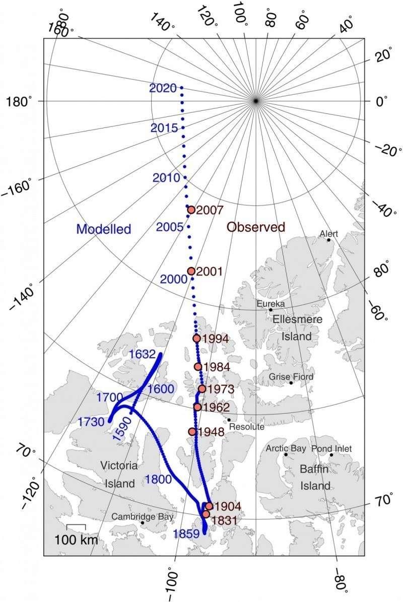 Схема перемещения северного магнитного полюса Земли
