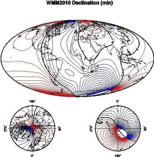 Карта магнитных отклонений