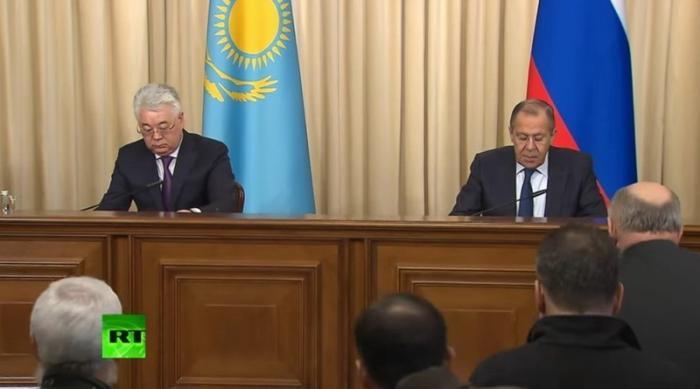 Сергей Лавров и главы МИД Казахстана Бейбут Атамкулов провели пресс-конференцию