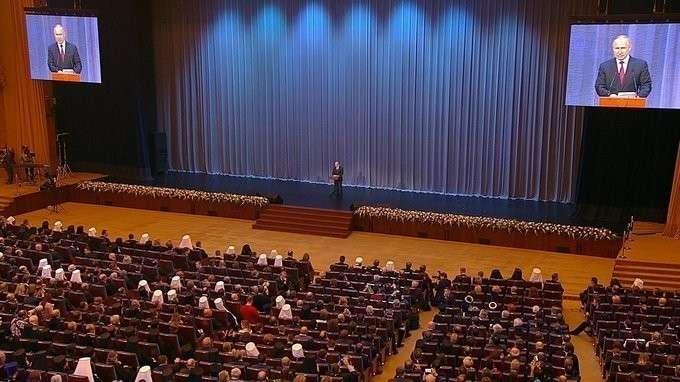 Торжественное собрание послучаю 10-летия Поместного собора РПЦ ипатриаршей интронизации