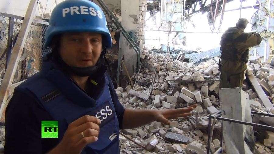 Корреспондент RT одним из первых среди журналистов побывал в аэропорту Донецка