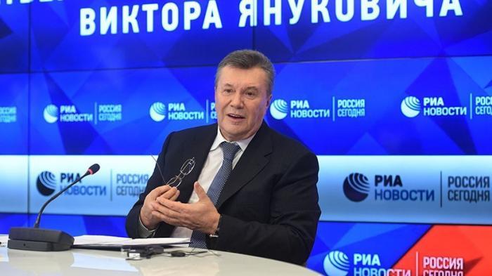Бывший лидер Украины Виктор Янукович выступает с заявлением для прессы