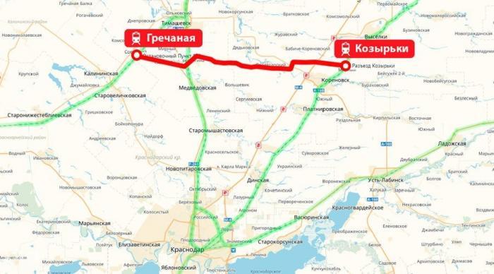 Открыт обход Краснодарского железнодорожного узла на участке станция Козырьки – Новая Гречаная