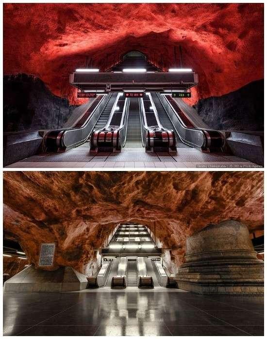 Станция метрополитена «Родхусет (Radhuset)» больше похожа на пещеру горного короля (Стокгольм, Швеция).