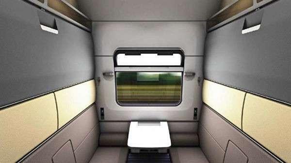 Интерьер двухэтажного вагона-купе проекта 2020