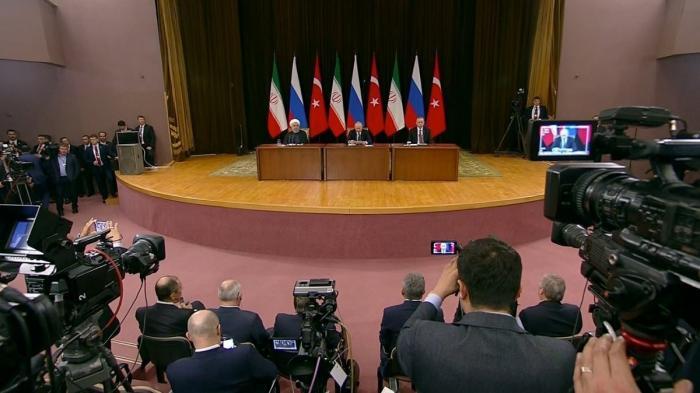 Владимир Путин, Хасан Рухани и Реджеп Эрдоган провели пресс-конференцию