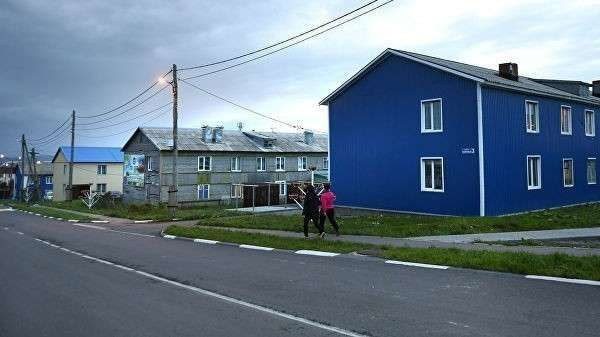 Поселок Южно-Курильск на острове Кунашир Большой Курильской гряды