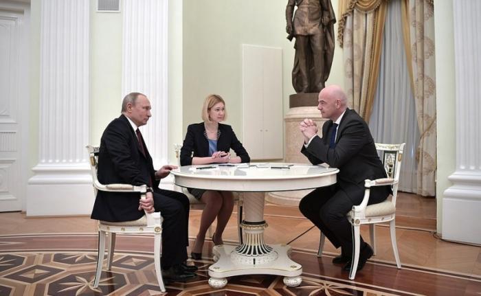 Владимир Путин принял в Кремле президента ФИФА Джанни Инфантино
